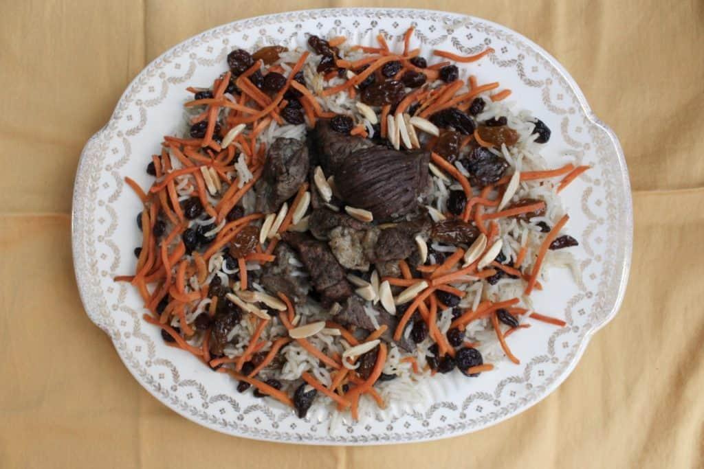 Kabuli Pulao (Spiced Lamb Pilaf) full plate