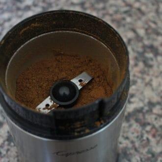 Ground garam masala in a spice blender