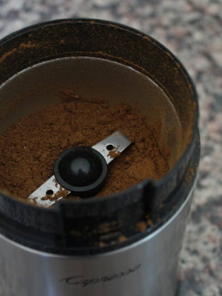 Ground garam masala in a spice blender