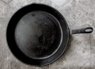 Cast Iron Skillet on gray background