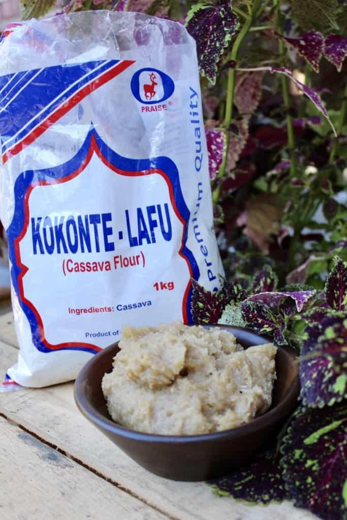 cassava flour and funje in bushes