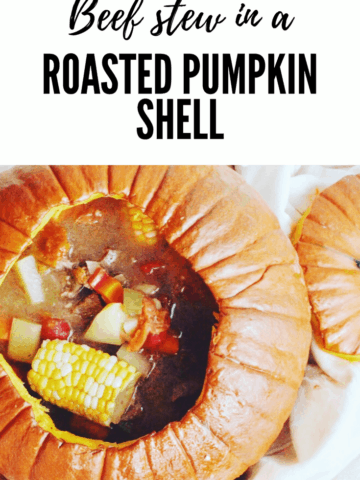 Pinterest image. Beef stew in a roasted pumpkin Shell