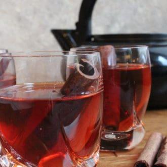 Two glasses of Armenian Cinnamon Tea with Cinnamon sticks