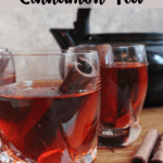 Cinnamon Tea Recipe Pinterest Image Top Clear Banner with Red Stripe