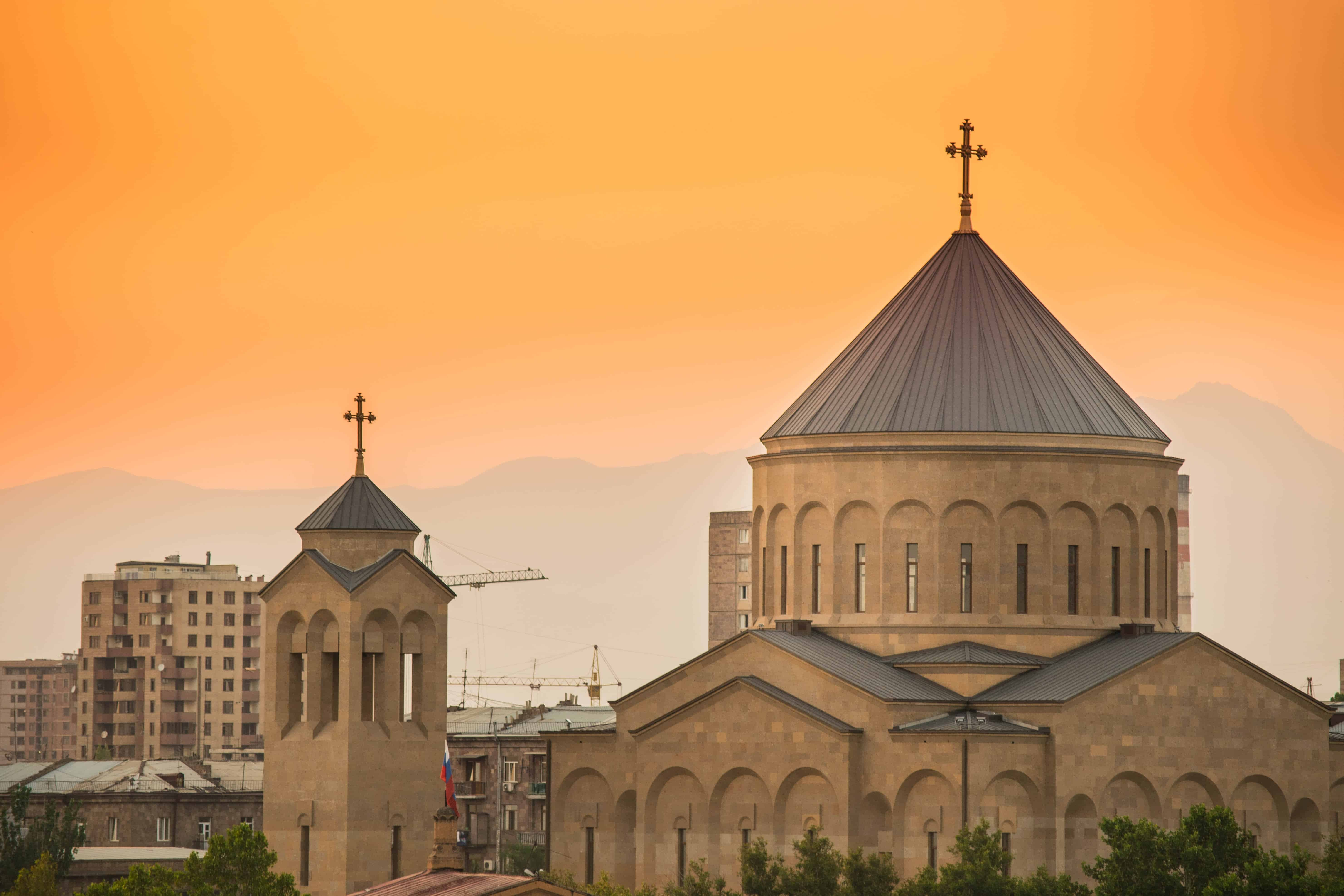 Armenian church with yellow background