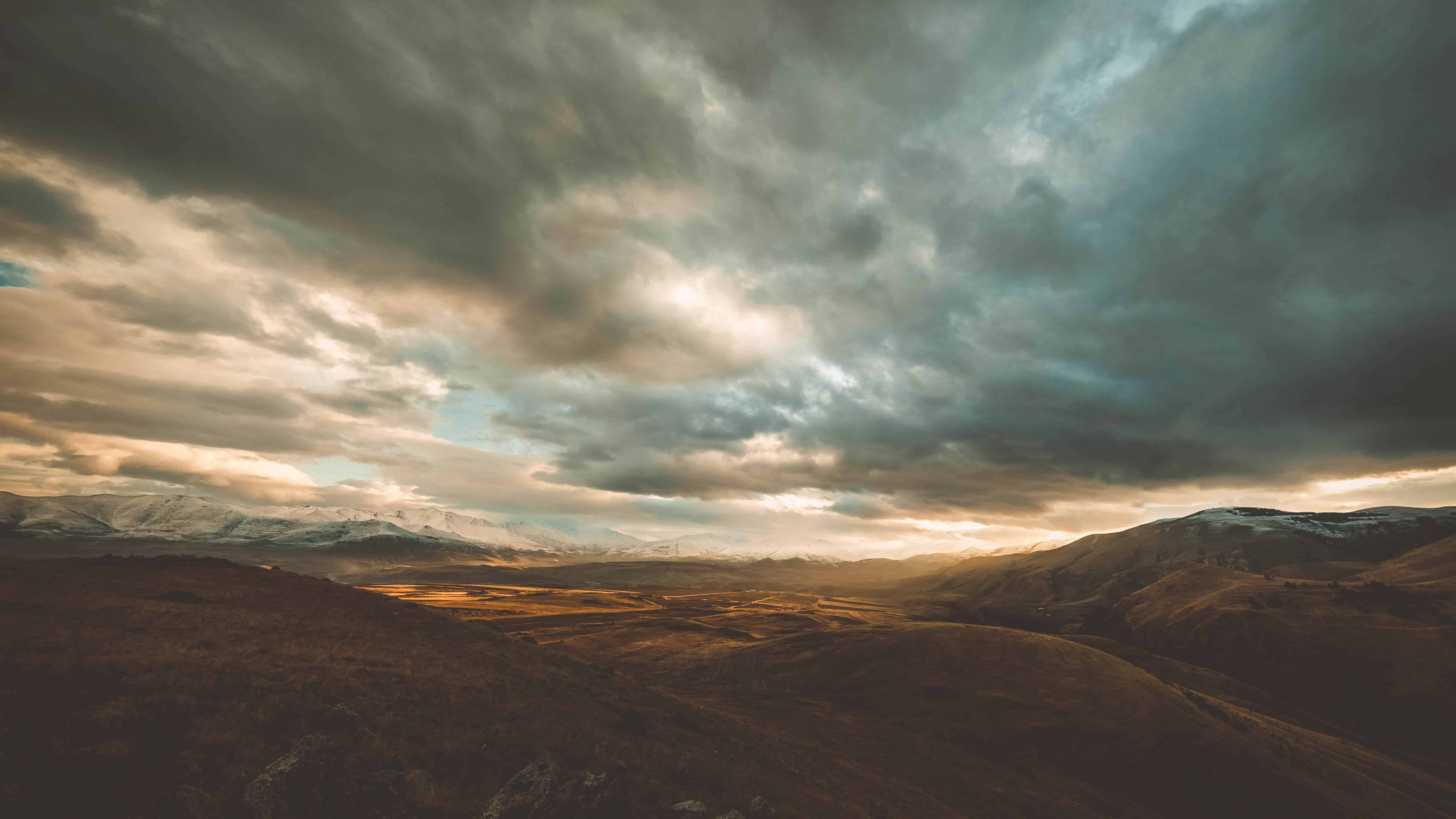 Hazy view of hillsides in Armenia