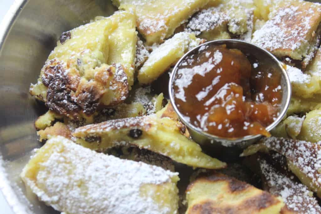 Close up of Kaiserschmarrn in skillet