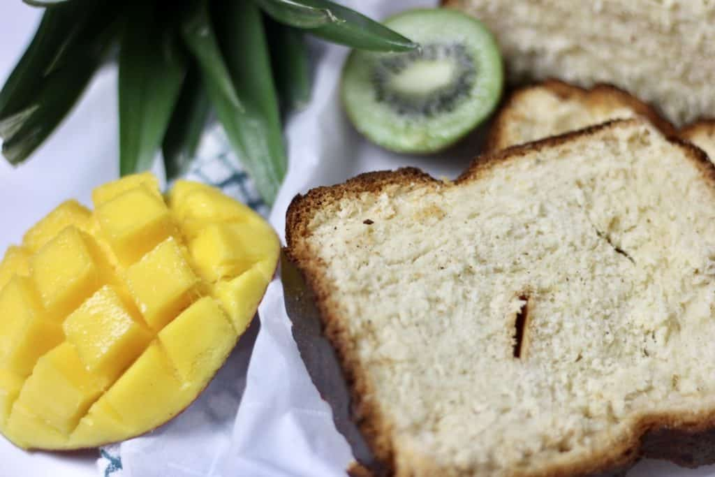 Coconut Bread Recipe with mango and kiwi
