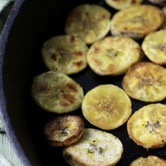Plantain Chips in a Cast Iron Skillet