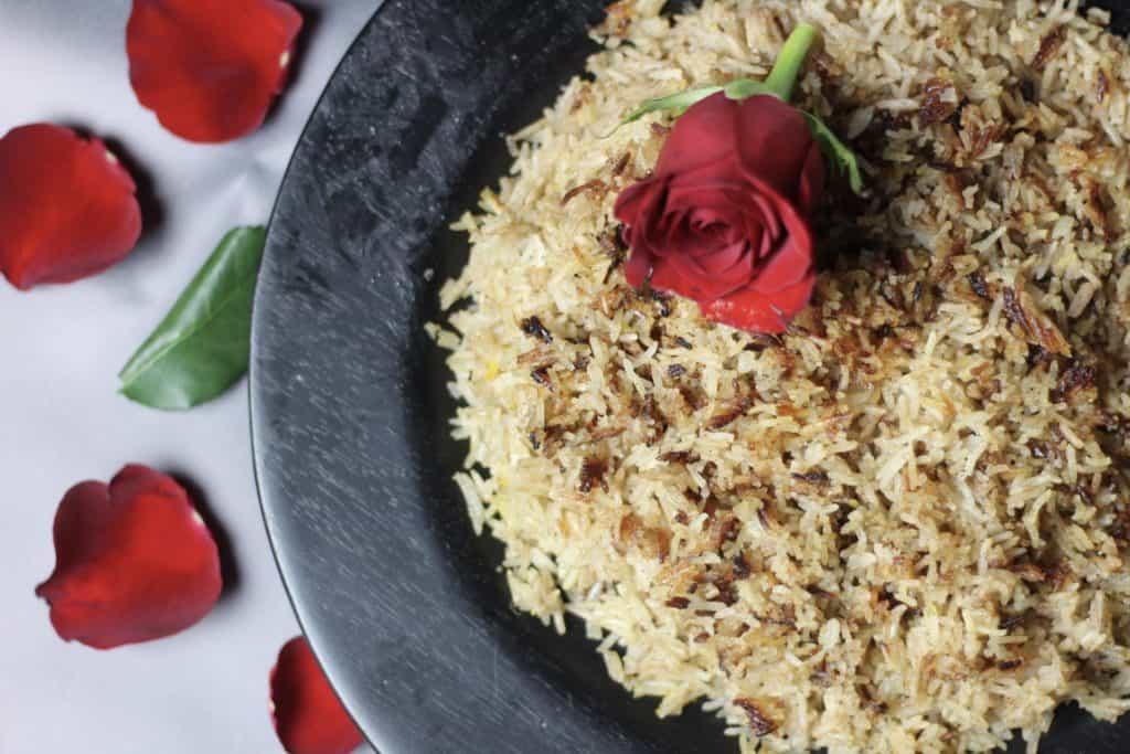 Muhammar with rose petals horizontal view