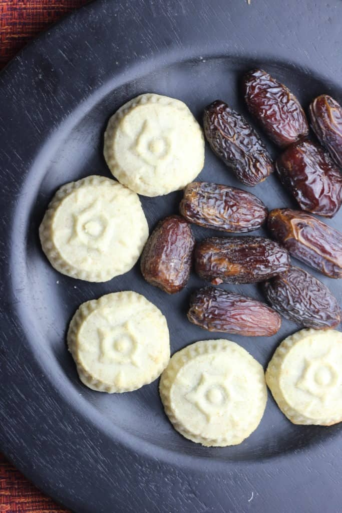 Overhead view of maamoul cookies with dates