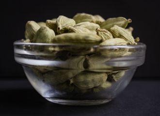 Cardamom Pods in a Glass Bowl
