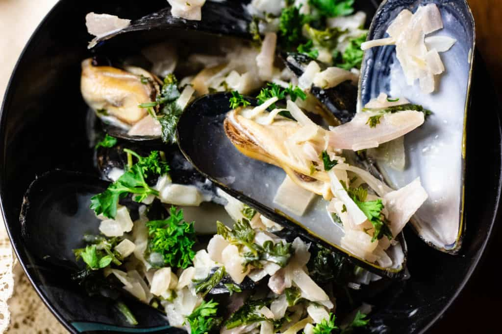 Belgian Mussels close up