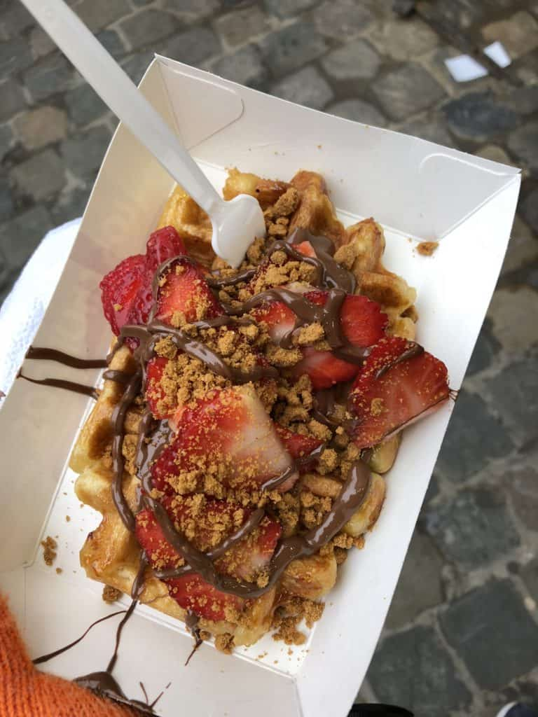 Belgian waffle with nutella, speculoos, and strawberries