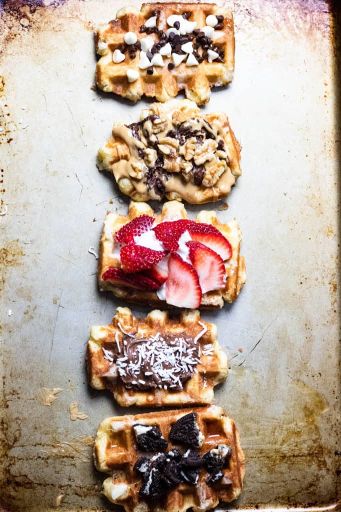 Liege waffles with sweet toppings