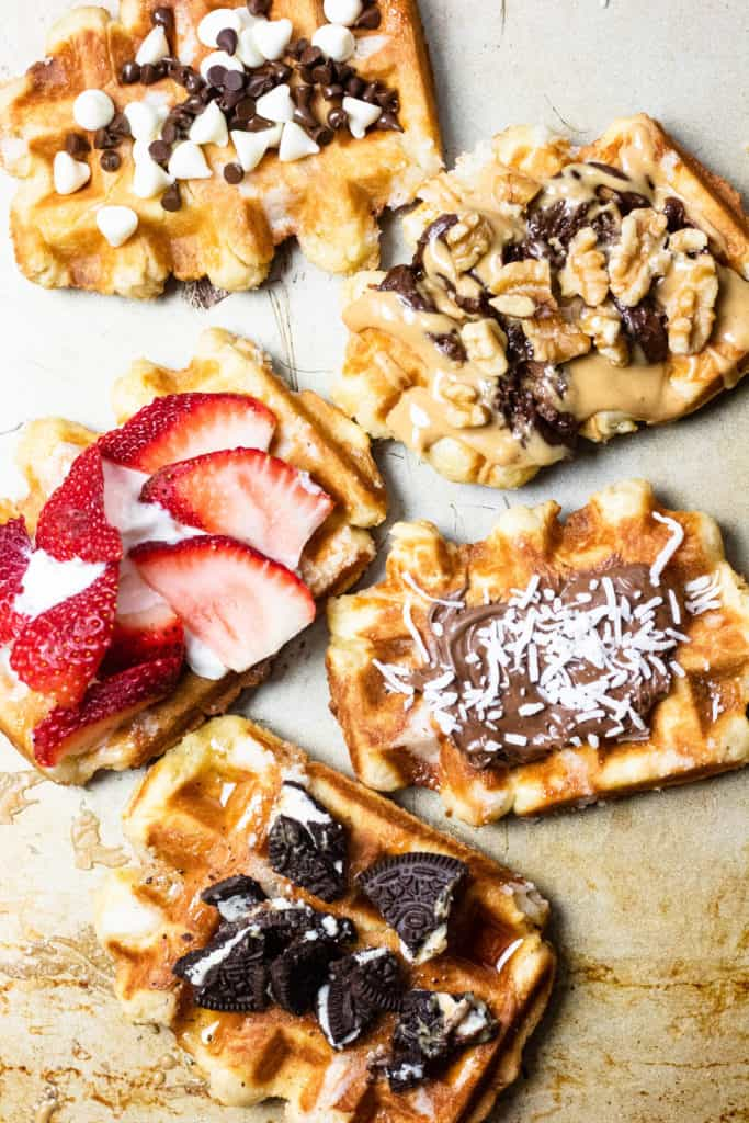 five liege waffles with toppings