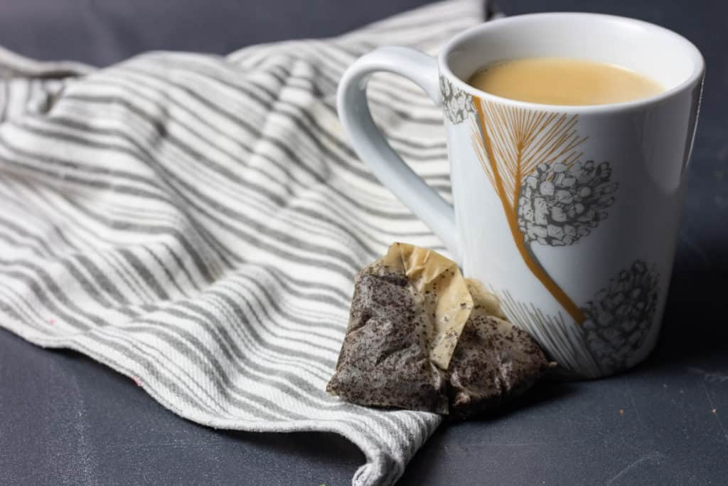 Horizontal image of butter tea with tea bags