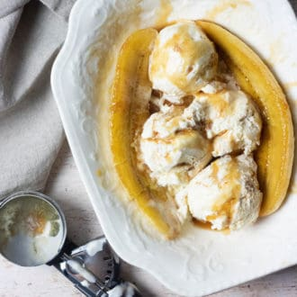 caramelized bananas with ice cream scoop
