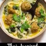 Thai-Inspired Meatball Soup Pinterest Image bottom black banner