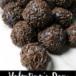 Valentine's Day Fudge Balls Pinterest Image Bottom Black Banner