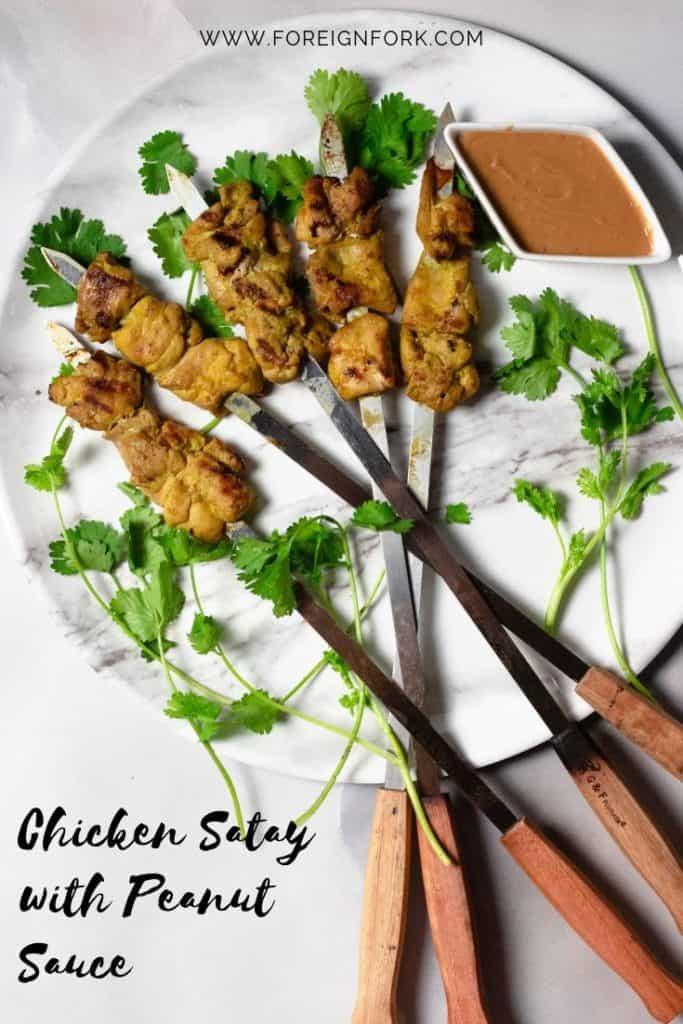 Chicken Satay with Peanut Sauce Pinterest Image