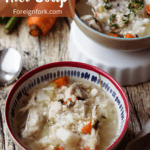Chicken and Rice Soup Pinterest Image Top Left banner