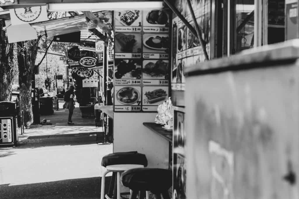 Black and white photo of Portland food truck