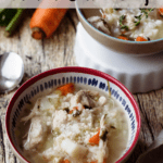Chicken and Rice Soup Pinterest Image top banner