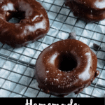 Homemade Chocolate Donuts Pinterest Image Bottom Black Banner