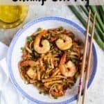 Homemade Shrimp Fried Rice Pinterest Image top striped banner