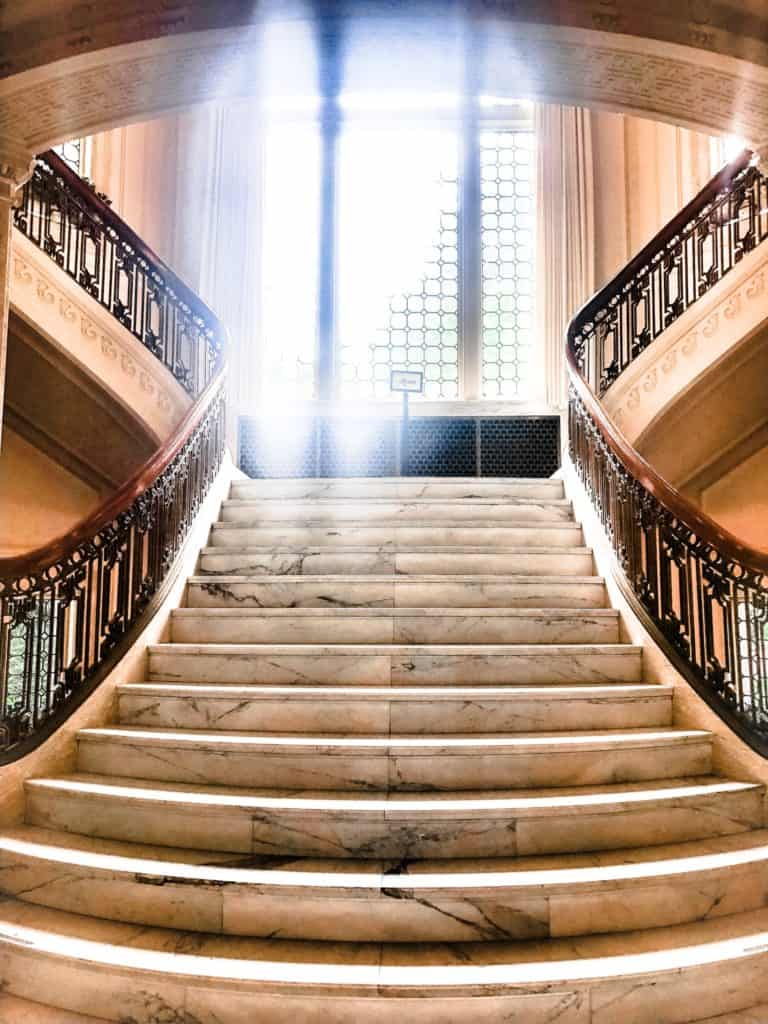 Staircase in the Pittock mansion in portland, oregon