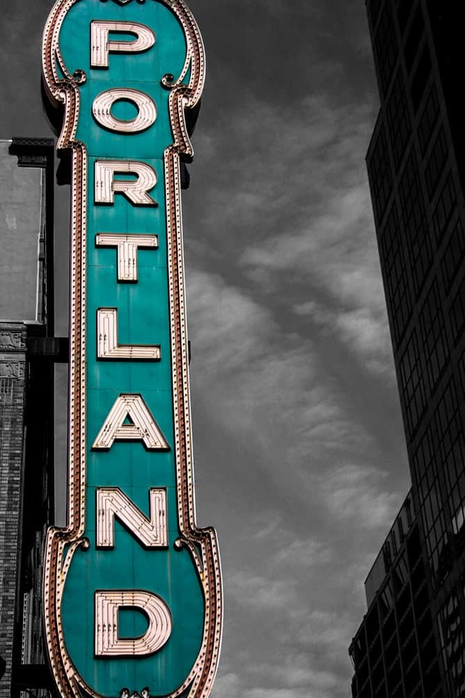 Teal Portland sign with black and white background