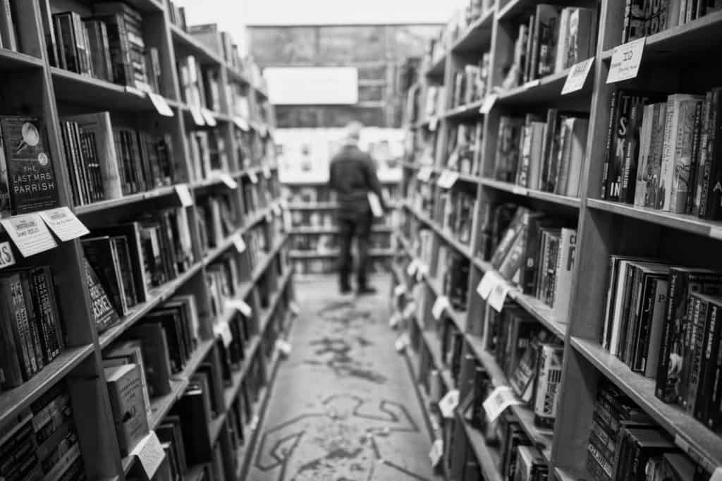 Powell's bookstore in black and white