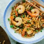 shrimp stir fry with noodles and wok