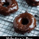 Valentine's Day Chocolate Donuts Pinterest Image bottom black banner