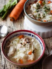 chicken and rice soup close up