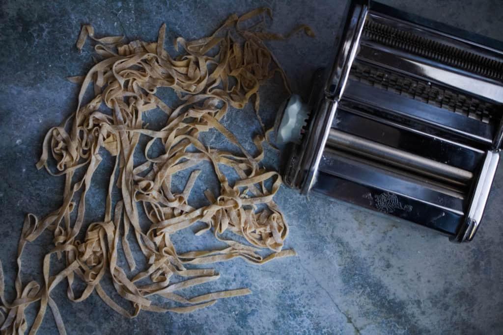 homemade pasta maker with homemade pasta