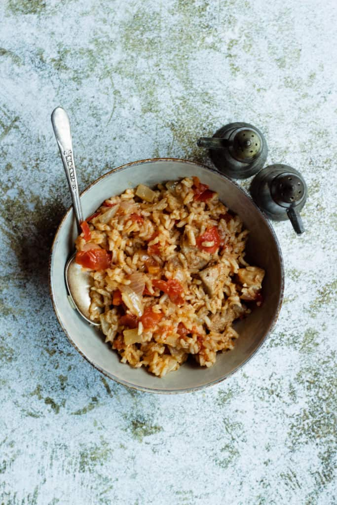tuna rice with salt and pepper shaker