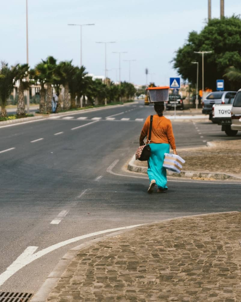 woman carrying basket cape verde