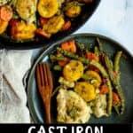 Cast Iron Skillet Chicken Pinterest Image bottom black banner