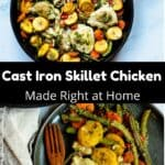 Cast Iron Skillet Chicken Pinterest Image middle black banner