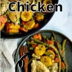 Cast Iron Skillet Chicken Pinterest Image top outlined title