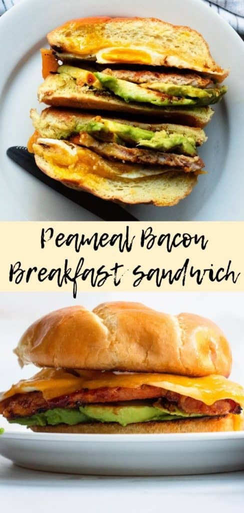 pinterest image for peameal bacon sandwhich