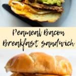 Peameal Bacon Pinterest Image with two photos