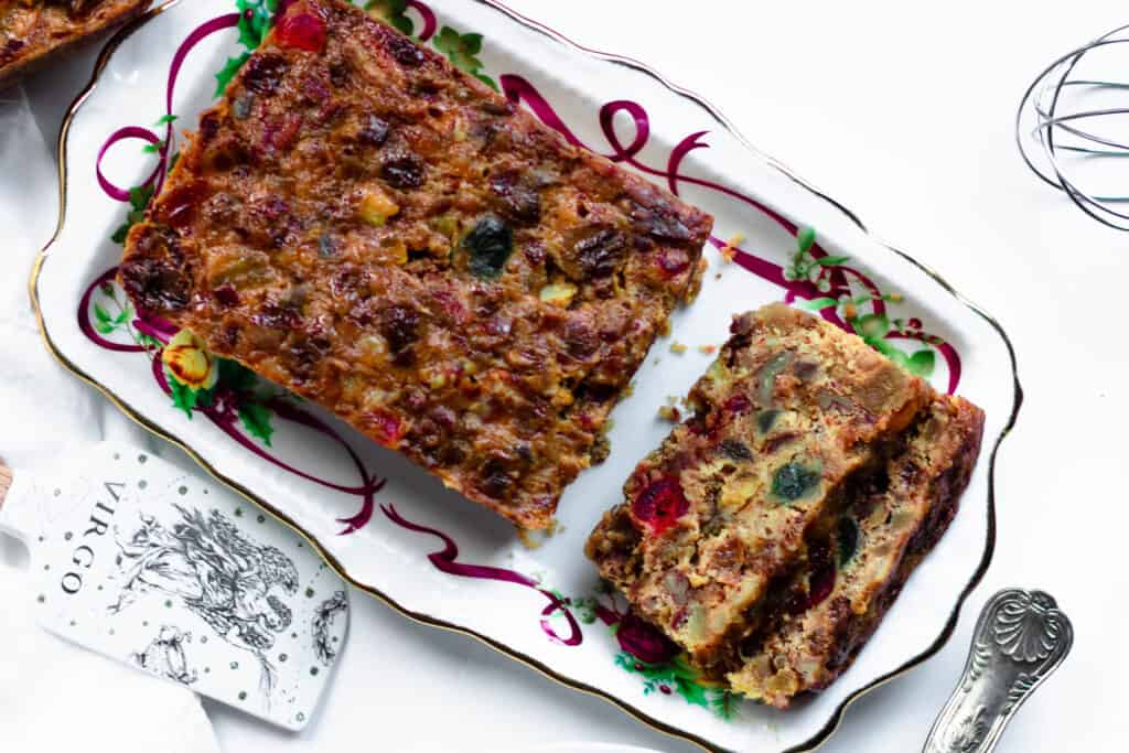 horizontal christmas fruit cake