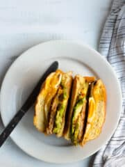 Close up vertical of peameal bacon breakfast sandwich
