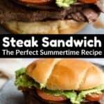 Steak Sandwich Pinterest Image middle black banner