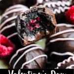 Valentine's Day Oreo Truffles Pinterest Image bottom black banner