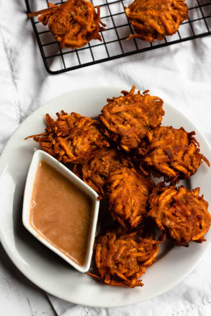 sweet potato fritters with dip
