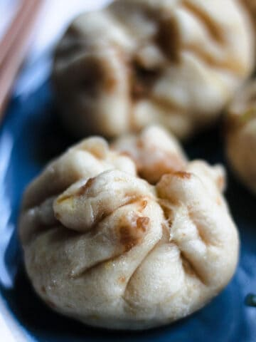 close up of chinese steamed pork buns